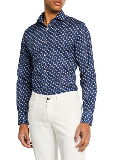 Canali Men's Cotton Batik Sport Shirt