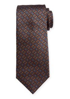 Canali Men's Deco-Inspired Neat Silk Tie  Gold