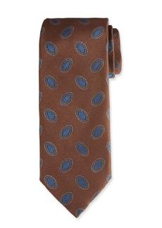Canali Men's Disc Motif Silk Tie  Brown