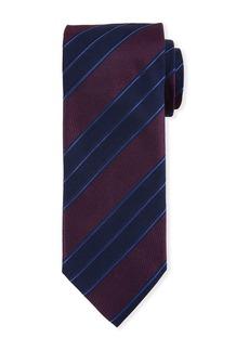 Canali Men's Double Repp Stripe Silk Tie  Burgundy