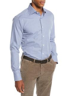 Canali Men's Grid Cotton Dress Shirt