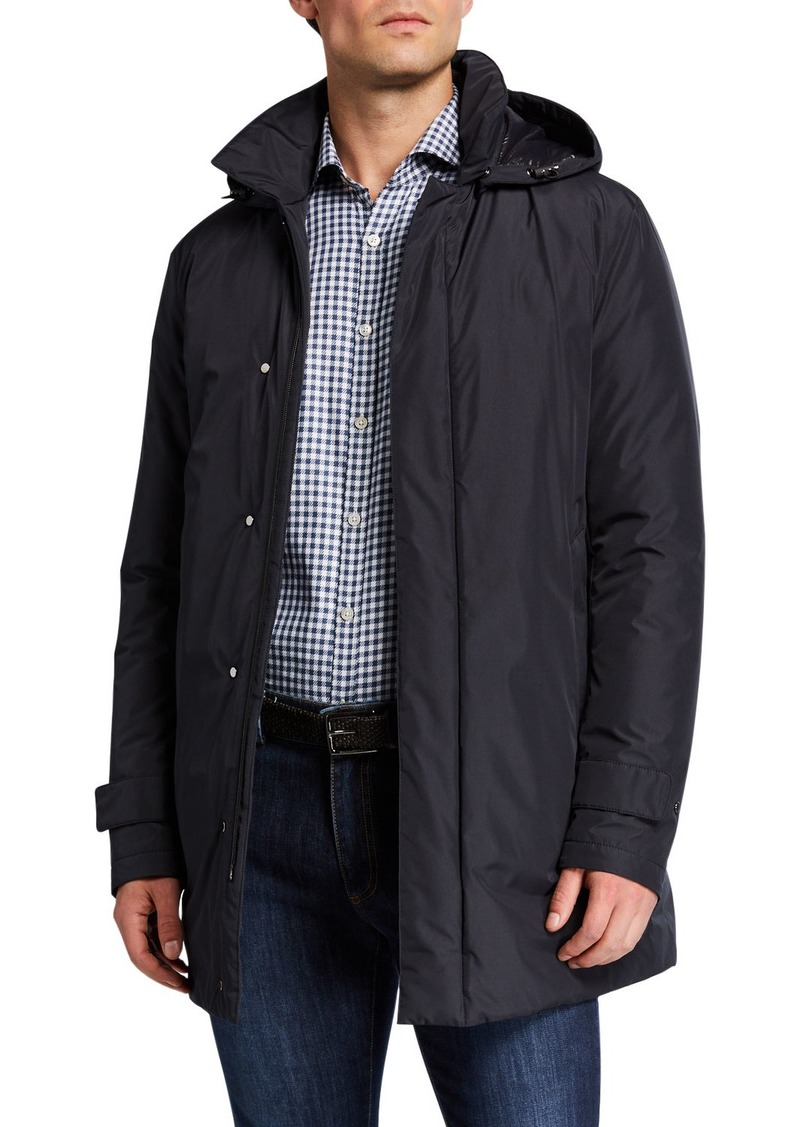Canali Men's Hooded Tech Rain Coat