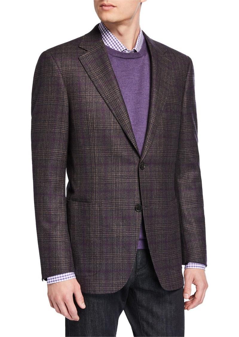 Canali Men's Kei Lightweight Plaid Wool Sport Jacket