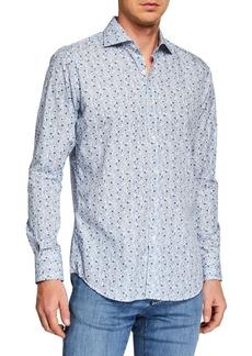 Canali Men's Leaf Print Long-Sleeve Dress Shirt