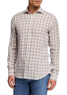 Canali Men's Linen Check Sport Shirt