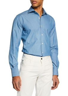 Canali Men's Long-Sleeve Chambray Dress Shirt