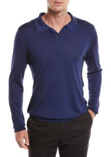 Canali Men's Long-Sleeve Wool/Silk Polo Shirt  Marine Blue
