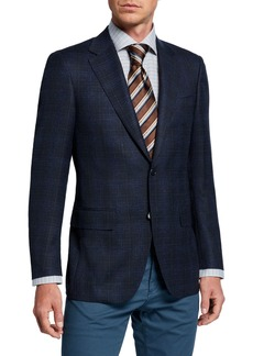Canali Men's Melange Plaid Two-Button Jacket