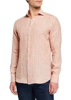 Canali Men's Modern Fit Linen  Plaid Sport Shirt