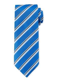 Canali Men's Satin Stripe Tie  Blue