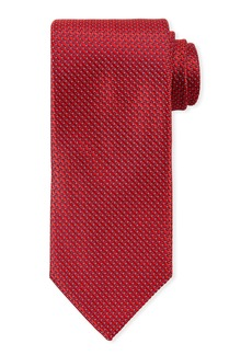 Canali Men's Satin Tonal Geometric Tie  Red