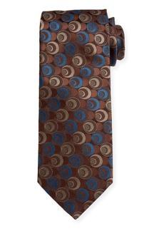 Canali Men's Silk Deco Circles Tie  Gold