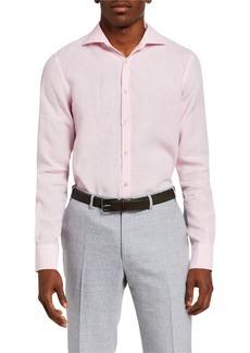 Canali Men's Solid Linen Sport Shirt