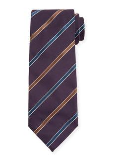 Canali Contemporary Rep Striped Silk Tie  Navy
