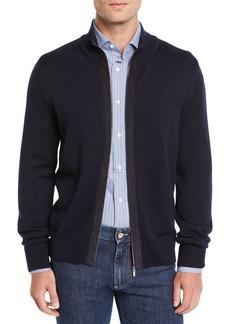 Canali Men's Suede-Trim Wool Zip-Front Jacket