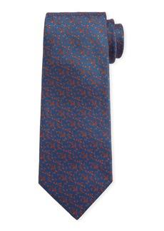 Canali Men's Triangle Neat Silk Tie  Blue