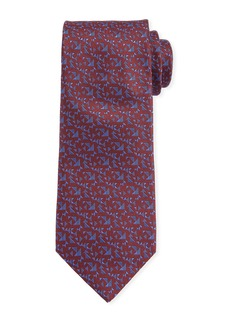 Canali Men's Triangle Neat Silk Tie  Red