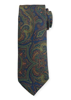 Canali Men's Vintage Paisley Wool-Silk Tie  Green