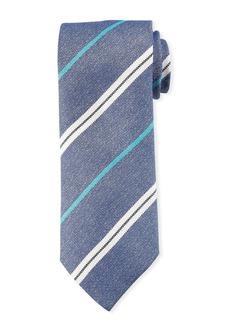 Canali Men's Warp-Stripe Silk Tie  Blue/White