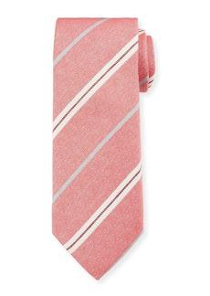 Canali Men's Warp-Stripe Silk Tie  Red/White