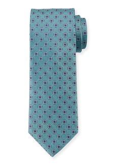 Canali Men's Woven Hexagon Silk Tie  Green