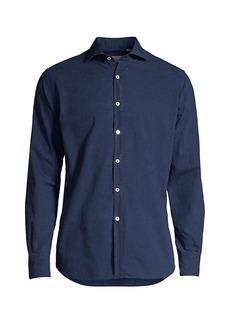 Canali Mini-Print Denim Shirt