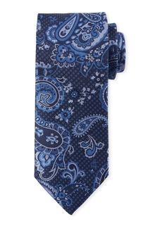Canali Paisley-On-Jacquard Silk Tie  Blue
