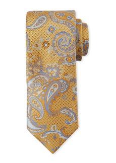 Canali Paisley-on-Jacquard Silk Tie  Yellow