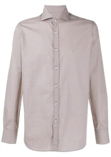 Canali patterned curved hem shirt