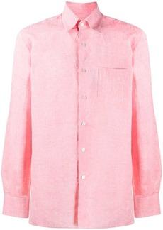 Canali pointed-collar linen shirt