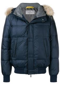 Canali raccoon fur trim padded jacket