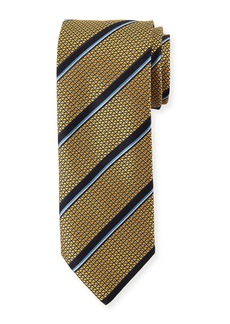 Canali Satin Jacquard Striped Silk Tie  Yellow