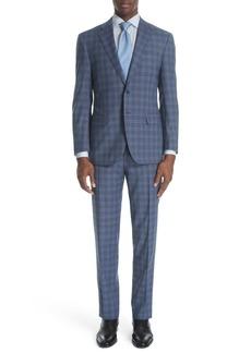 Canali Siena Classic Fit Plaid Wool Suit