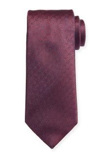 Canali Silk Cable Motif Tie  Burgundy