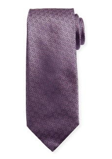 Canali Silk Cable Motif Tie  Pink