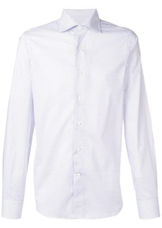 Canali striped spread collar shirt
