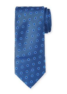 Canali Textured Dot Silk Tie  Blue