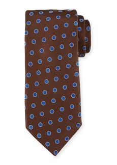 Canali Textured Dot Silk Tie  Brown