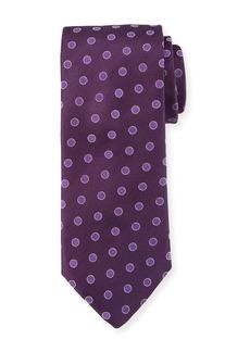 Canali Textured Dot Silk Tie  Purple