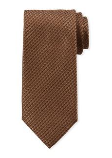 Canali Textured Solid Silk Tie  Brown
