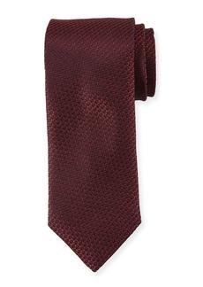 Canali Textured Solid Silk Tie  Burgundy Red