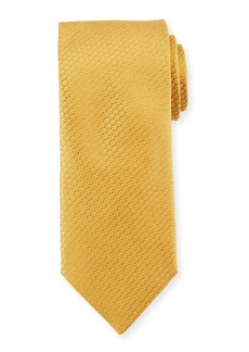 Canali Textured Solid Silk Tie  Gold Yellow