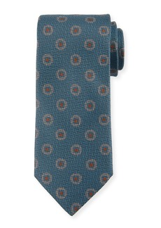 Canali Tossed Pines Silk Tie  Blue
