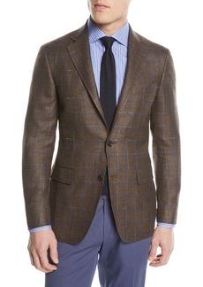 Canali Windowpane Wool-Blend Two-Button Jacket
