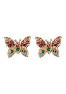 Candela 10K Yellow Gold Rainbow Swarovski Crystal Butterfly Earrings