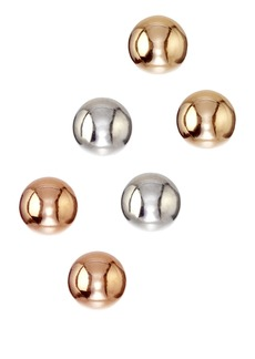 Candela 14K Tricolor Gold Ball Stud Earrings - Set of 3