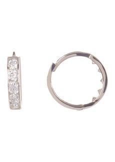 Candela 14K White Gold CZ 8.5mm Huggie Hoop Earrings