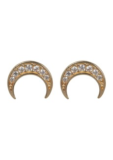 Candela 14K Yellow Gold Pave CZ Crescent Moon Stud Earrings