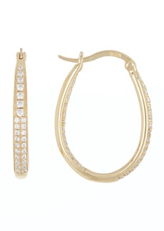 Candela Gold Plated Cubic Zirconia Oval Hoop Earrings