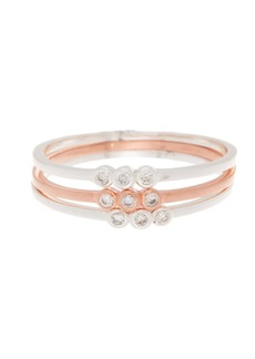 Candela Silver & Rose Gold Over Sterling Silver Stacking CZ Rings